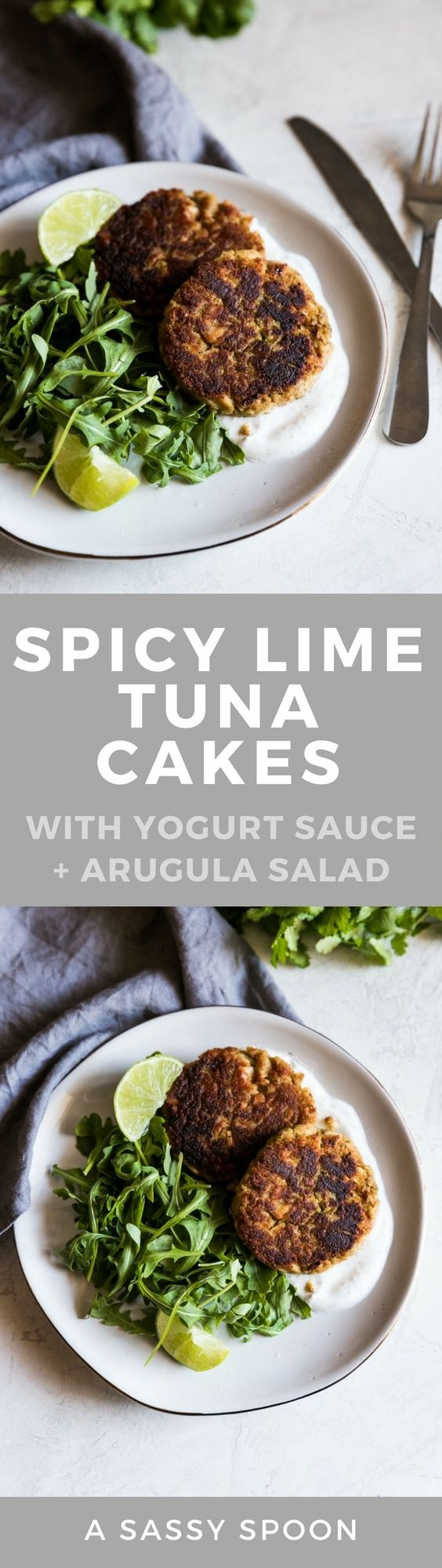 A delicious way to enjoy canned tuna! These spicy lime tuna cakes are made with garlic, onions, chili powder, fresh lime juice then served with a simple yogurt sauce and arugula salad. via @asassyspoon