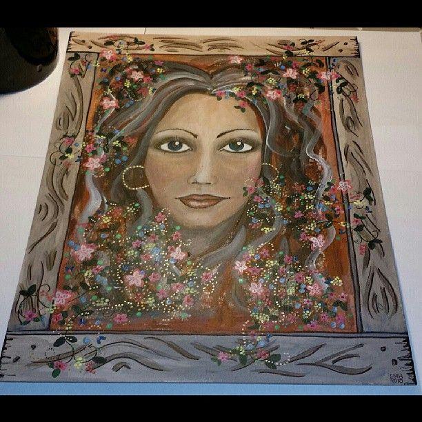 #akrylmålning  på #pannå 30×40cm. #blommor #bigeyes #träram #porträtt #grafit #smh