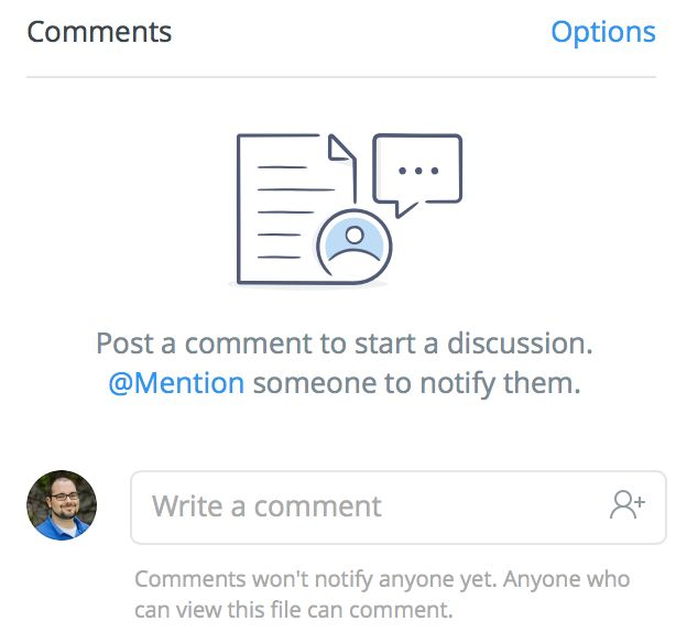 Dropbox commenting empty state