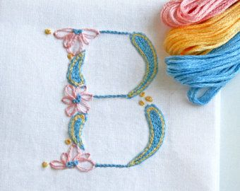 DIY .pdf pattern Monogram you choose set of 3 Special Price: get 3 monograms for the price of just 2. Difficulty Level: beginner A perfect first time embroidery project. Learn 4 crewel embroidery stitches. Perfect for gift making projects. Your choice of monogram that can be used for sachets, napkins, bedding or clothing. When you place your order just let me know what monograms you would like (in the message to seller) and Ill send them to you in 24 hours or less. Dont see one of the mon...