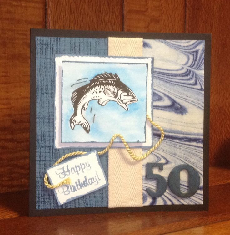 50th Men's card with watercolour background around the fish