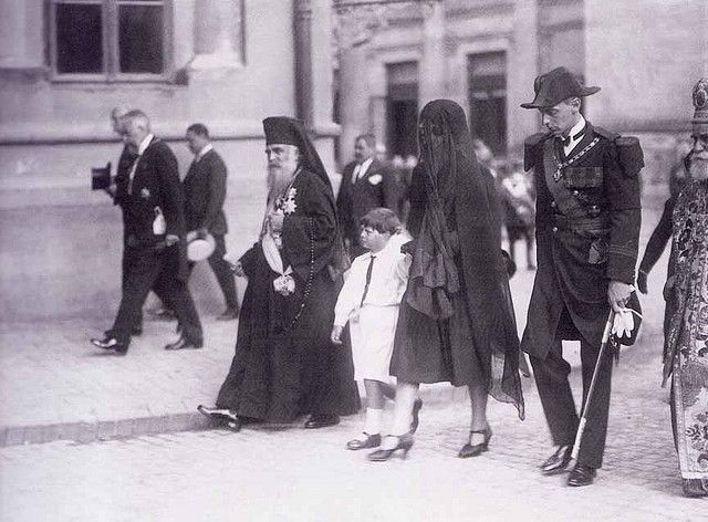 July 24, 1927:  Michael, his mother Princess Helen and his uncle, Prince Nicholas, in the funeral procession for his grandfather, King Ferdinand I.  Ferdinand had died 4 days earlier, making Michael King of Romania 3 months shy of his 6th birthday.