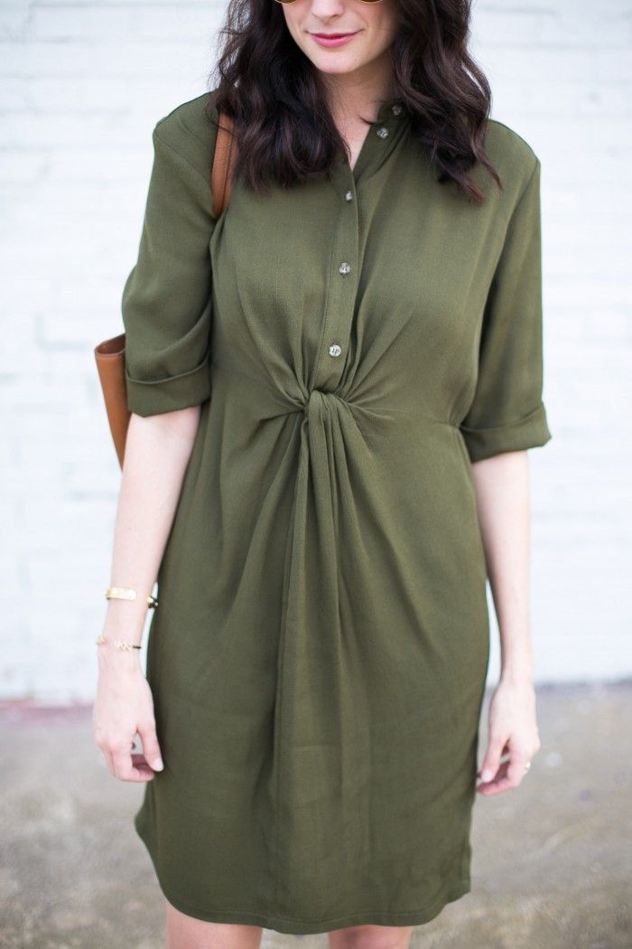 Amanda Miller wearing an olive green topshop maternity shirtdress