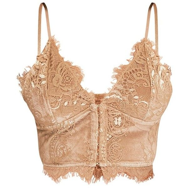 Hannah Gold Eyelash Lace Corset Bralet (£24) ❤ liked on Polyvore featuring tops, crop top, corset tops, cut-out crop tops, bralette crop top, bralet crop top and corsette tops