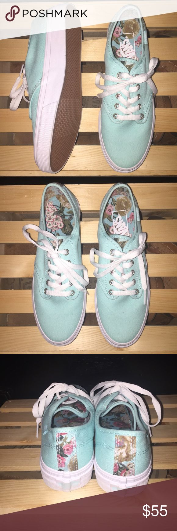 Mint Vans with floral print These Vans have never been worn and are in perfect condition but I don't have the box they came in anymore. Vans Shoes