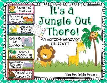 Jungle Themed Behavior Clipchart Include Calendar For