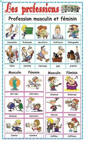 les professions - masculine + feminine