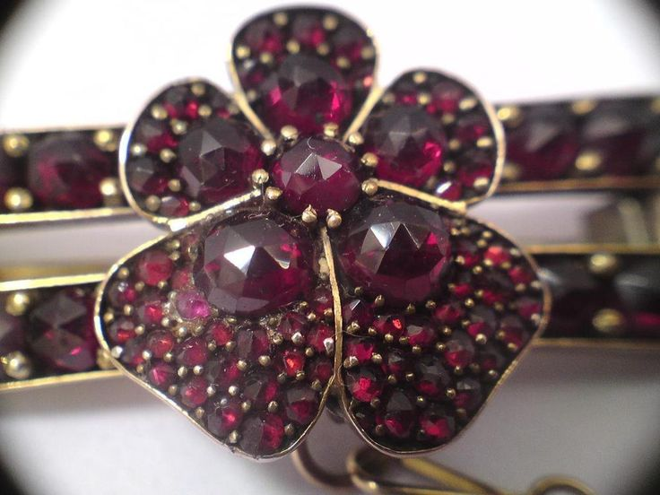 Rare Bohemian rose cut Garnet 5 leaf clover flower pinchbeck double bar brooch
