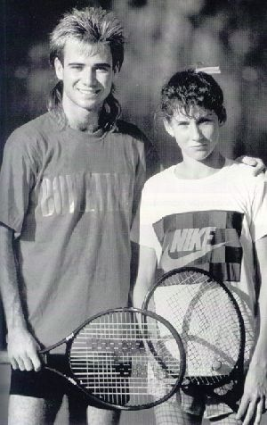 Andre Agassi and Monica Seles at Bollettieri Tennis Academy