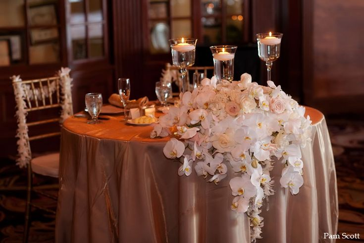 Arrangement inspiration for the side of the brides table.  This will cascade to the floor down one leg of the table. (The other side will have a silver candelabra)
