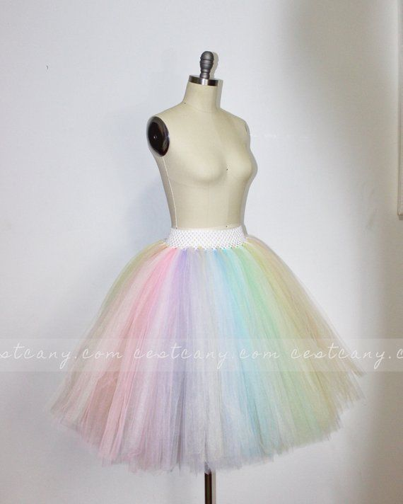 2de302f742 Pastel Rainbow Midi Tulle Skirt, Puffy Rainbow Tutu, Alternative Wedding  Skirt, Plus Size Tulle Skir