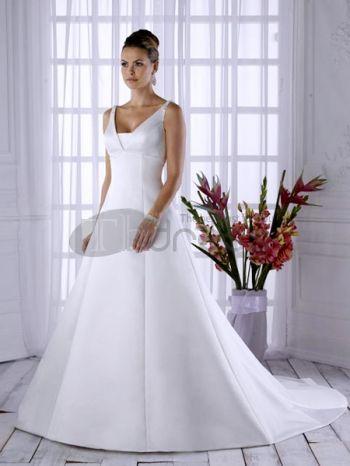 Abiti da Sposa Semplici-Bianco con scollo a v abiti da sposa semplici