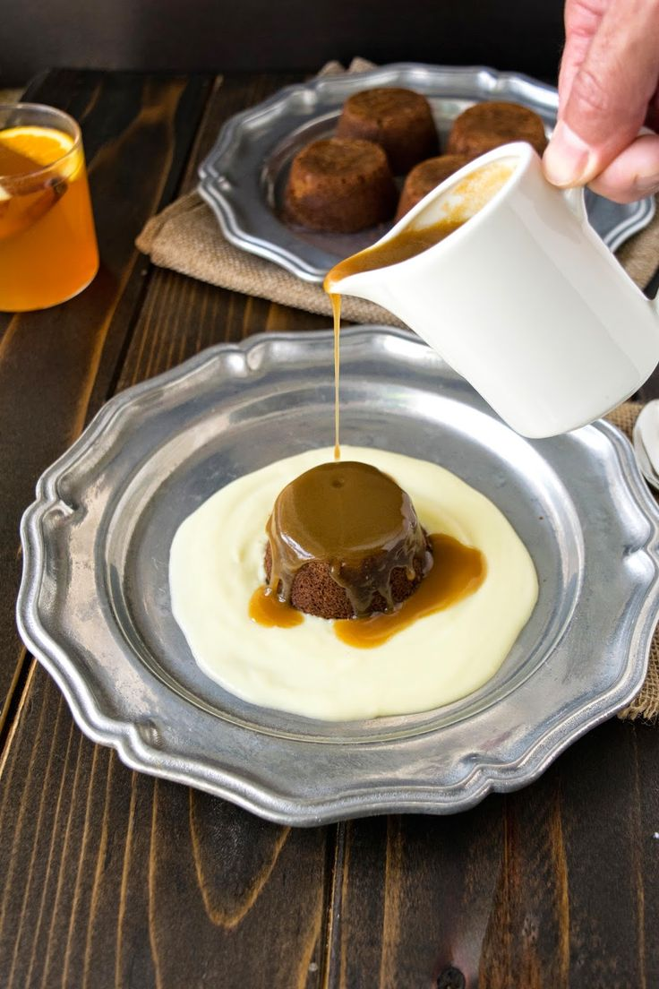 Sticky toffee pudding. A moist date cake with toffee sauce and English custard.