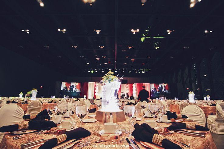 Large corporate event, black & gold room decor