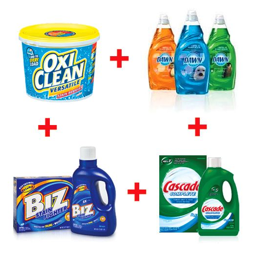 Soaking solution for those stubborn stains/ Oxy Clean + Dawn Dishwashing liquid + Biz + Cascade Dishwasher detergent. Author says ....all four of these. seems like a lot, but they each have special functions that seem to fight stains every time. Dawn helps get out the oils & greases, Cascade gets out enzymes & protein stains, Biz helps whiten & brighten colors, & Oxy Clean seems to make the whole solution work.