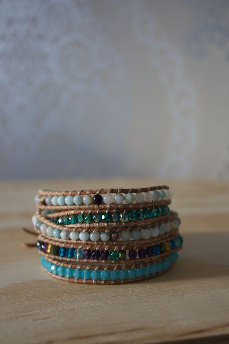 Wrap bracelet with amazonite and czechbead.
