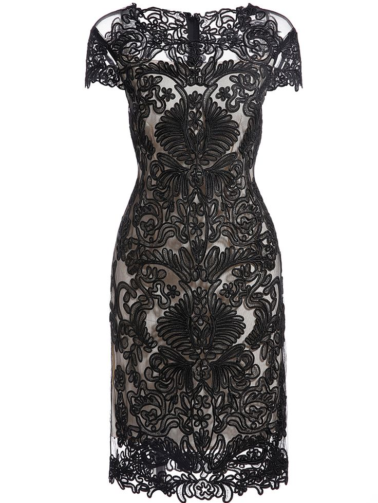 Black Round Neck Short Sleeve Bodycon Lace Dress 75.99
