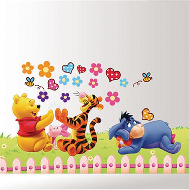 Винни пух медведь стикер стены ребенок роль детских клей искусство росписи стендовые съемные виниловые обои AY992