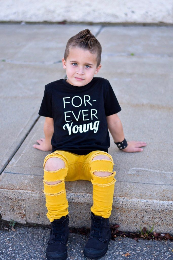 This cool kids shirt will turn heads for sure. Monochrome, gender neutral, urban graphic tees for kids are trendy & east to style. Forever Young kids graphic tee.