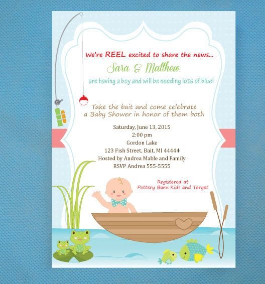 Fishing Baby Shower Invitations   PRINTED Invitations And Comes With  Envelopes