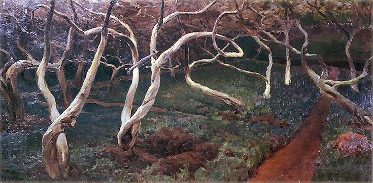 """Ferdynand Ruszczyc (Polish, 1870-1936), """"Stare jabłonie"""" ('Old Apple Trees'), 1900."""