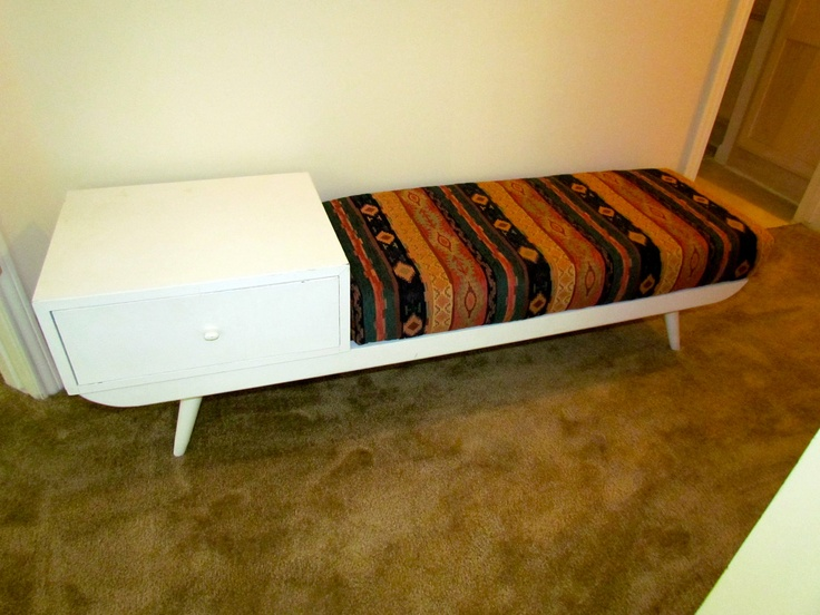 Vintage Southwestern and White Bench Seat with End Table