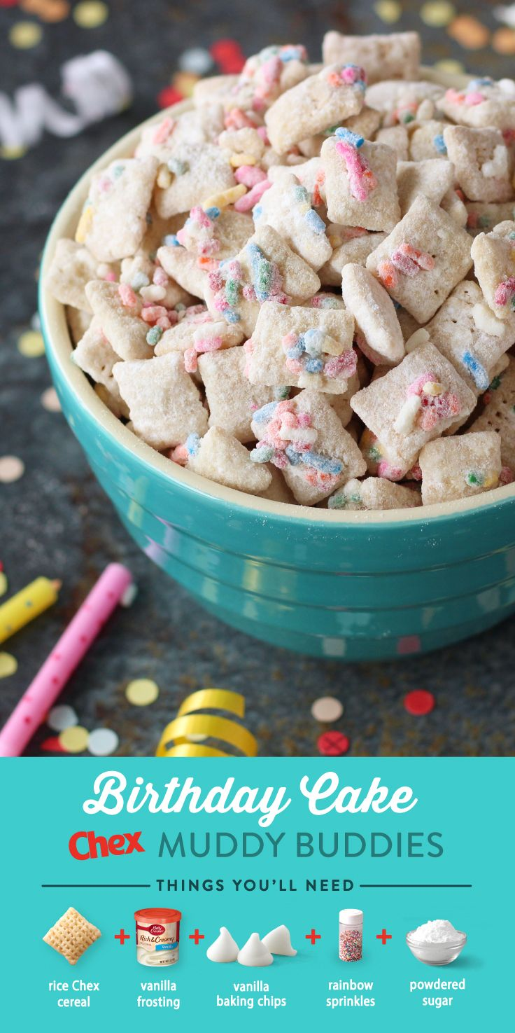 Looking for a twist on a classic treat? Birthday Cake Muddy Buddies are the perfect addition to any birthday celebration! Made with frosting and sprinkles, this delicious treat has the yummy taste of vanilla cake in every bite.
