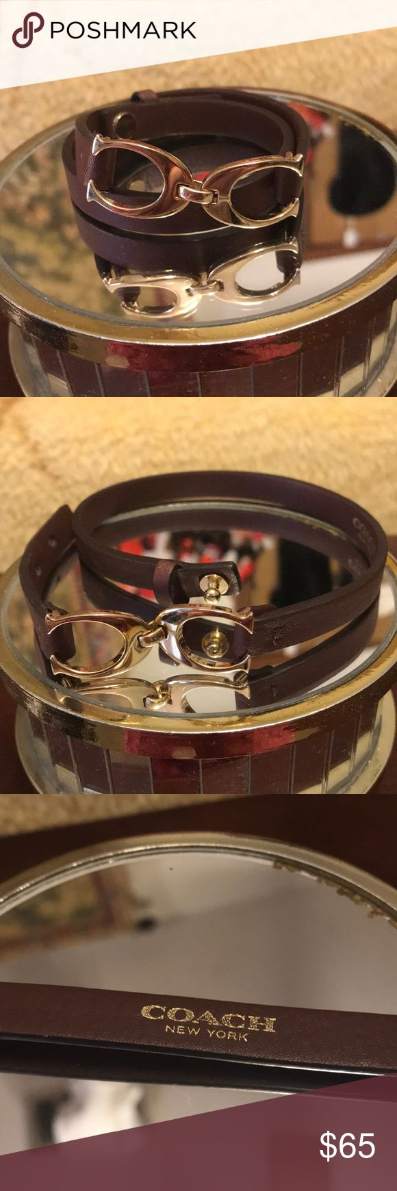 """Coach Leather Wrap Brown Bracelet ☝🏻😍💐💃🏻 Coach Leather Wrap Signature Brown Bracelet ☝🏻😍💐💃🏻💃🏻💃🏻  This is a beautiful bracelet, but is a little tight for me. It is in great to mint condition used 2 times only. Size is 14."""" think it would fit size small wrist.   Comes from a non smoking home pet free.   I ship Monday Tuesday and Wednesday and if yo have any questions please ask. Coach Jewelry Bracelets"""
