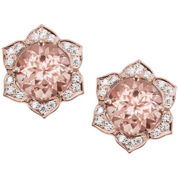 Morganite Earrings, Flower Earring Studs, Gold Stud Earrings, Diamond... ($980) ❤ liked on Polyvore featuring jewelry and earrings