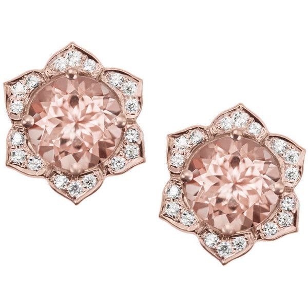Morganite Earrings, Flower Earring Studs, Gold Stud Earrings, Diamond... ($980) ❤ liked on Polyvore featuring jewelry and earrings