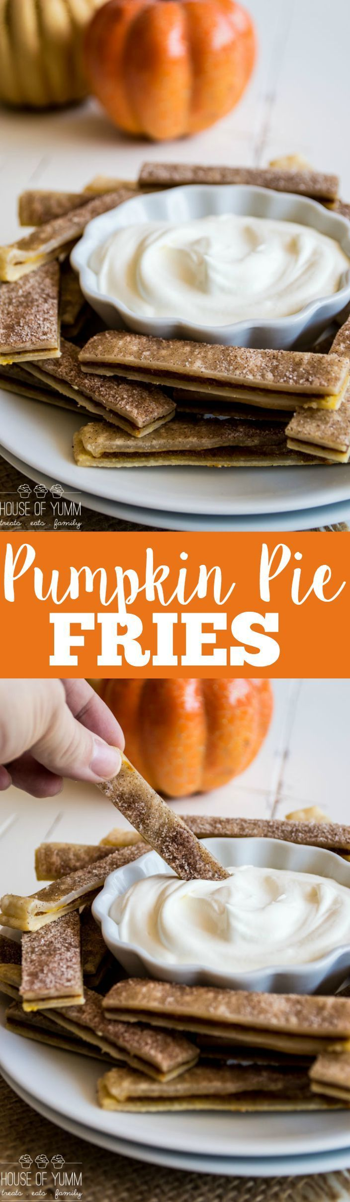 Seriously EASY to make Pumpkin Pie Fries served with whipped cream for dipping!
