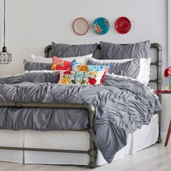 Pioneer Woman Grey Ruched Chevron Comforter Plush Comfort And Style Cozy Warm  #ThePioneerWoman #Country