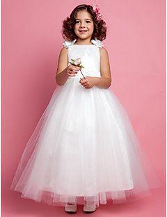 Flower Girl Dress Ankle-length Tulle/Satin A-line/Princess S... – USD $ 79.99