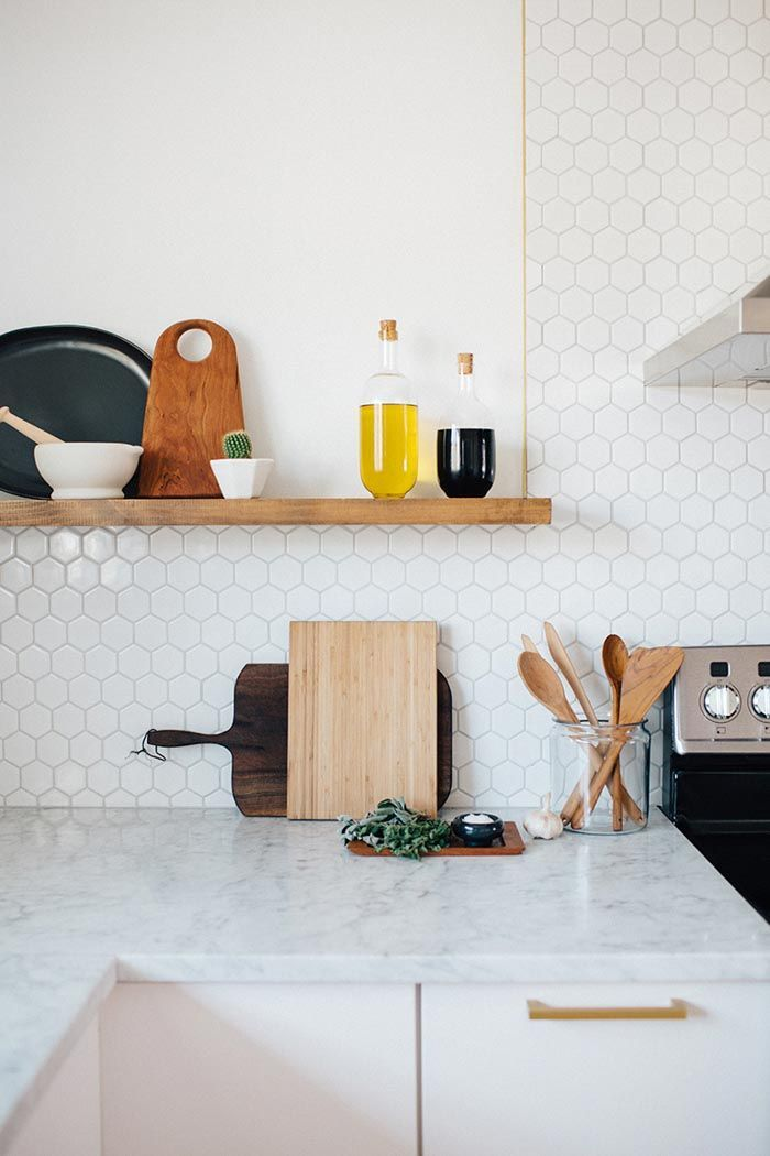 """2"""" Hexagons do their magic in this charming kitchen. Try our 2"""" hexagons in White Wash with a matching grout with a look like this."""