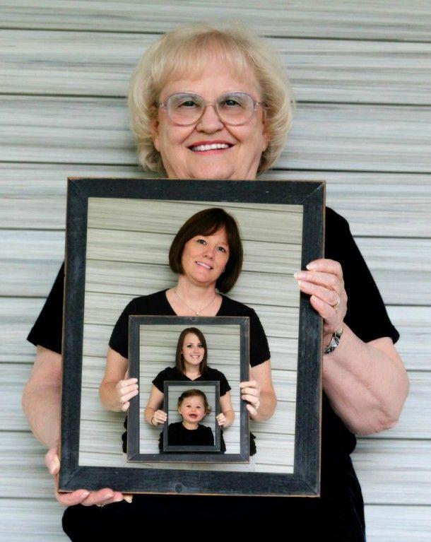 Leuk zo 4 generaties op de foto Is te maken in een fotobewerkingsprogramma bijv. Photoshop Elements