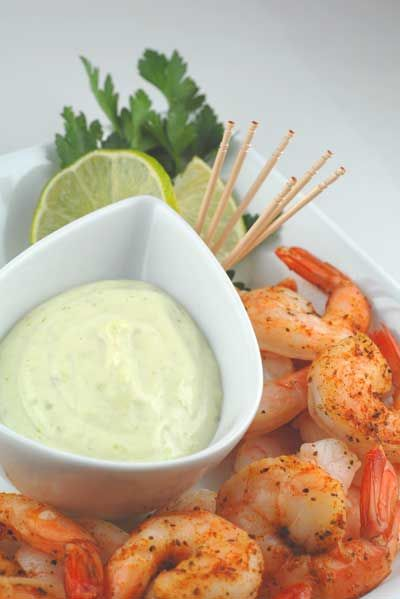 yum yum yum, shrimp with wasabi dipping sauce