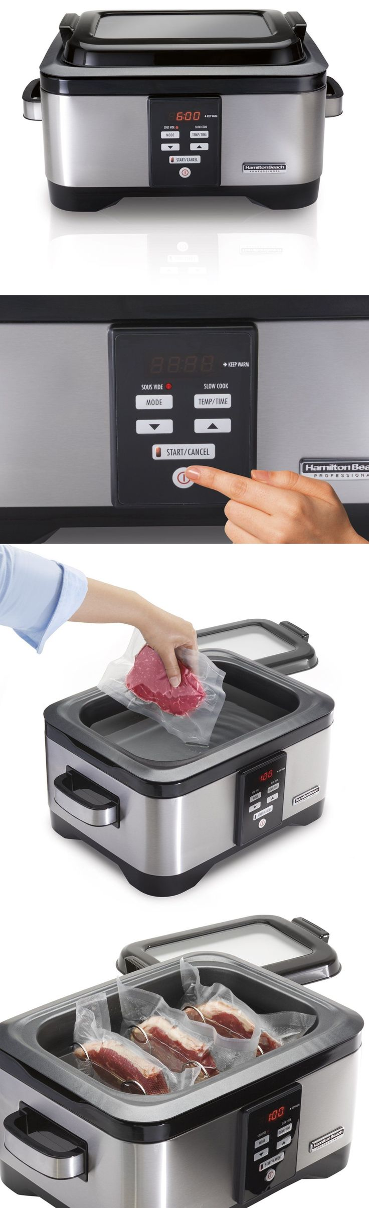 Small Kitchen Appliances: Hamilton Beach 33970 Professional Sous Vide Water Oven And Slow Cooker 6 Quart BUY IT NOW ONLY: $119.89
