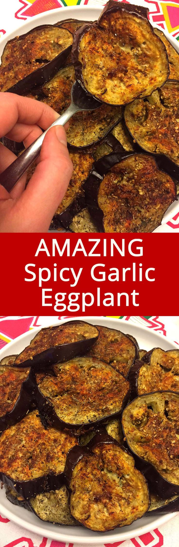 These spicy garlic eggplant slices are so addictive! LOVE this recipe!
