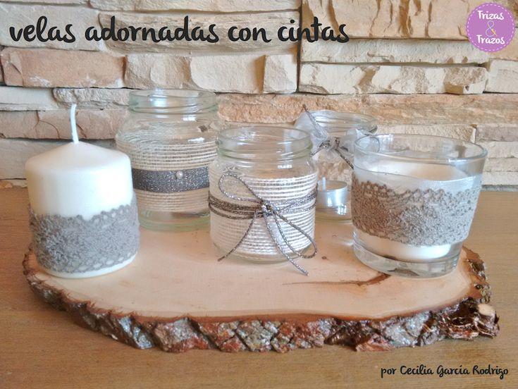 Velas decoradas con cintas