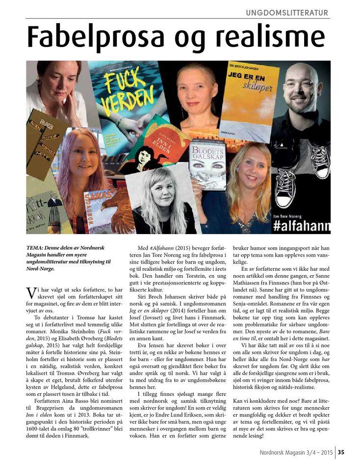 Nordnorsk magasin tema ungdomslitteratur Temasider om ungdomslitteratur fra Nord-Norge, i Nordnorsk Magasin nr 3-4 2016