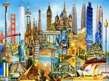 collage art building | puzzle title world famous buildings product id 170524 number of