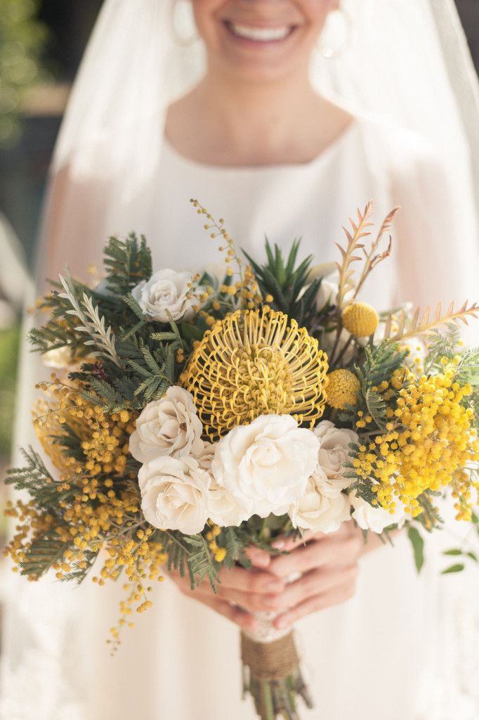 July Wedding Flower Bouquet Bridal Flowers Arrangements Yellow Wattle bride billy balls