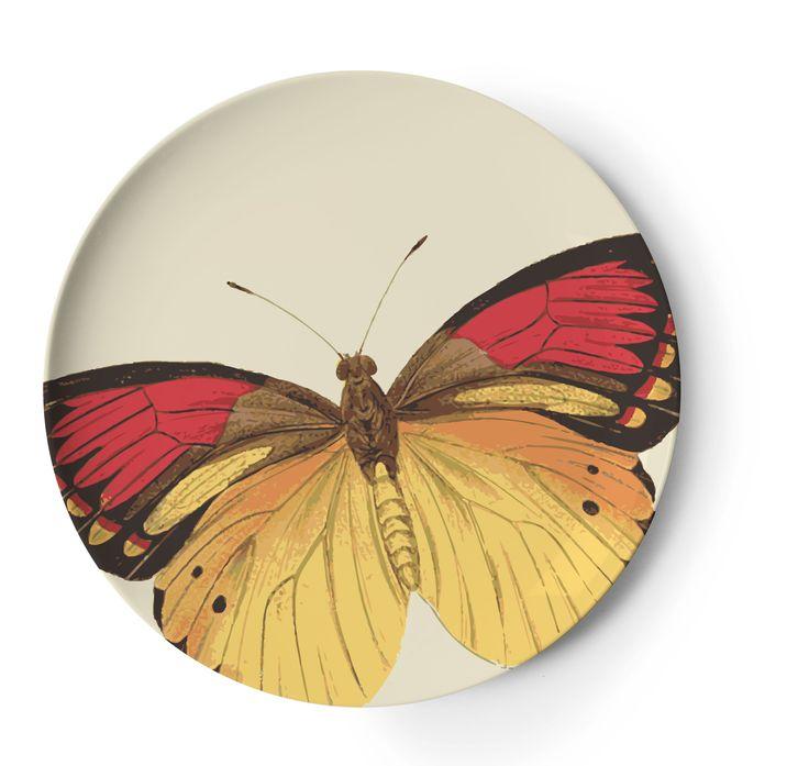 Metamorphosis Melamine by Thomaspaul - Side Plate (1 of a set of 4) #melamine #coasters #butterfly #butterflies #metamorphosis #dinnerware #outdoorentertaining