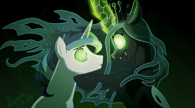 Queen Chrysalis and Shining Armor