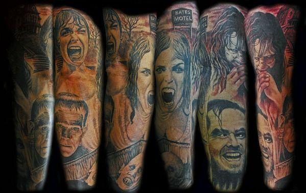20 tatouages de films dhorreurs   20 tatouages de films d horreurs exorciste psycho frankenstein shining salem van helsing