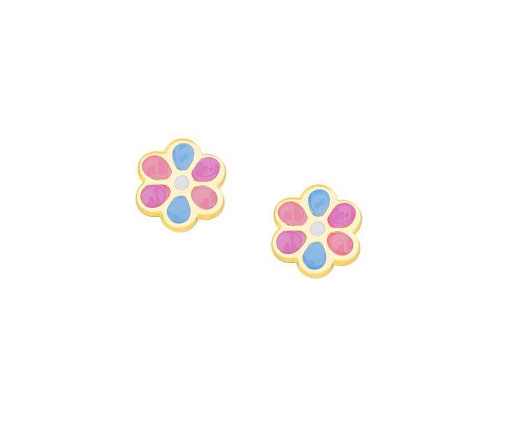 gold earrings for children flower in14K so cute!!!