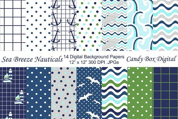 Sea Breeze Nautical Background Paper by Candy Box Digital on @creativemarket