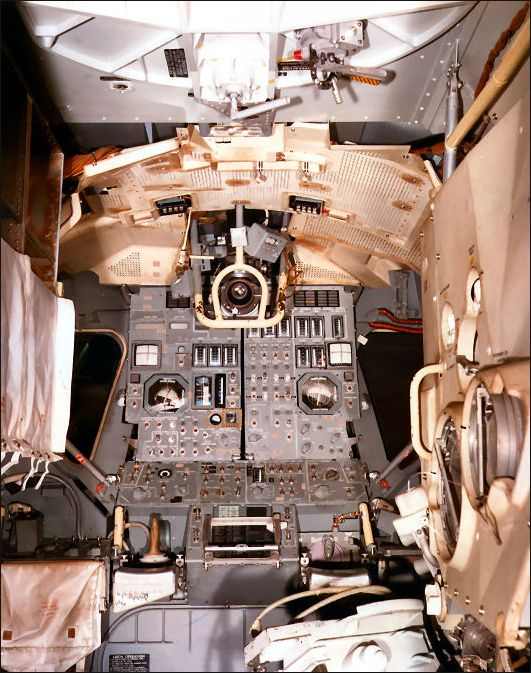 Lunar module interior looking forward.