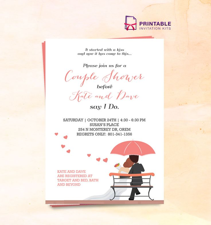 FREE PDF Couple Shower Wedding Invitation Template