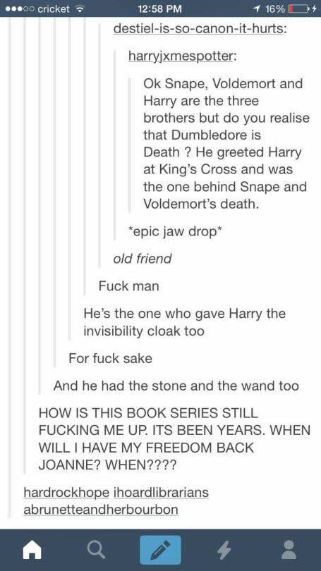 Snape, Voldemort, and Harry Potter are the Three Brothers and Dumbledore is Death